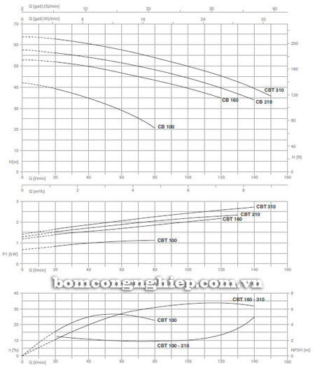 Máy bơm ly tâm Pentax CBT 210 biểu đồ lưu lượng