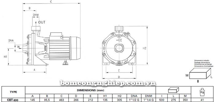 Máy bơm ly tâm Pentax CBT 400 bảng thông số kích thước