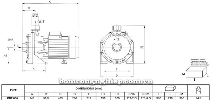 Máy bơm ly tâm Pentax CBT 600 bảng thông số kích thước