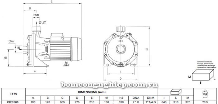Máy bơm ly tâm Pentax CBT 800 bảng thông số kích thước