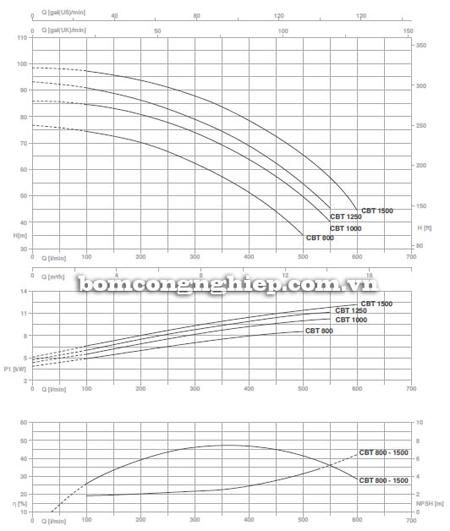 Máy bơm ly tâm Pentax CBT 800 biểu đồ lưu lượng