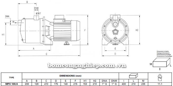 Máy bơm nước Pentax MPX 100/4 bảng thông số kích thước