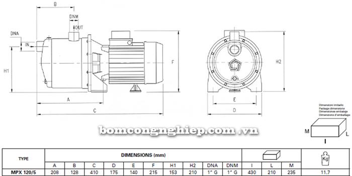 Máy bơm nước Pentax MPX 120/5  bảng thông số kích thước