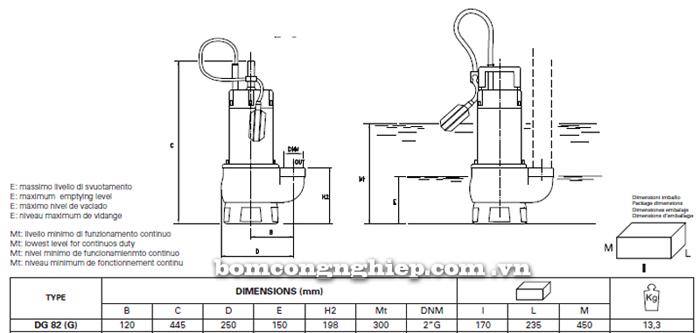Máy bơm nước thải chìm Pentax DG 82 bảng thông số kích thước