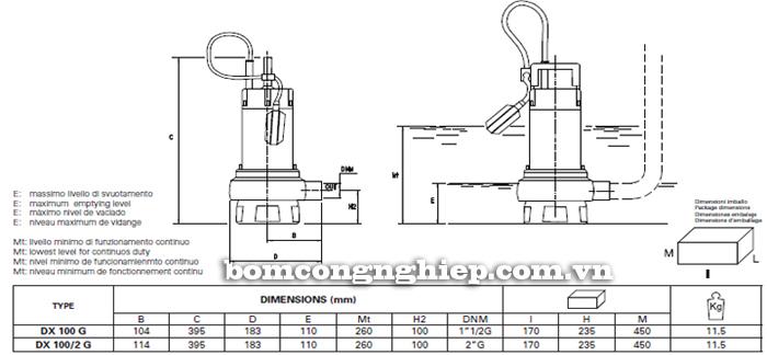Máy bơm nước thải chìm Pentax DX 100 bảng thông số kích thước
