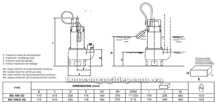 Máy bơm nước thải Pentax DG 100G bảng thông số kích thước