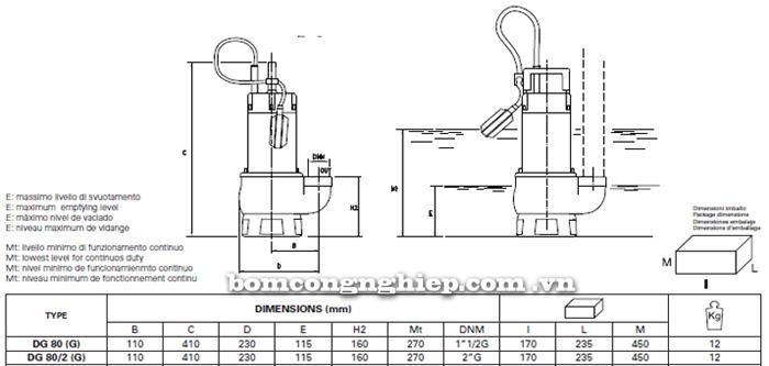Máy bơm nước thải Pentax DG 80G bảng thông số kích thước