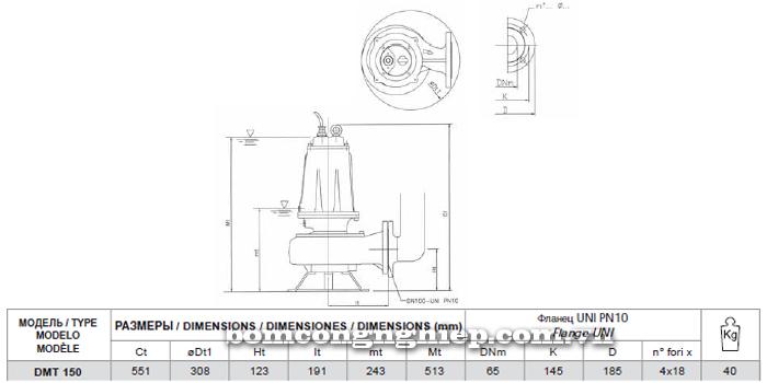 Máy bơm nước thải Pentax DMT 150 bảng thông số kích thước