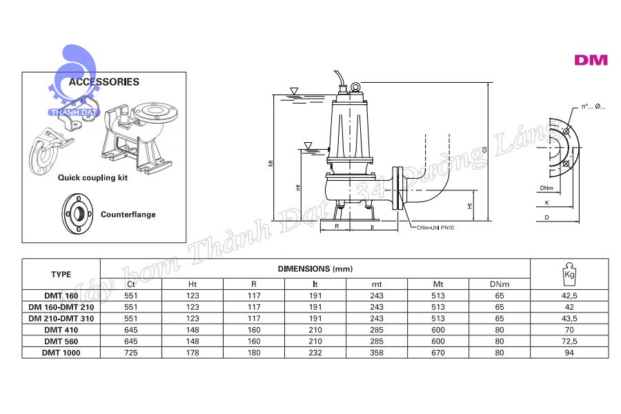 Máy bơm nước thải Pentax DMT 160