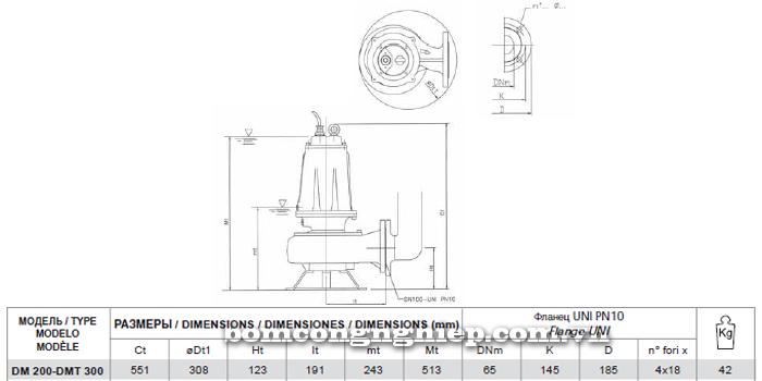 Máy bơm nước thải Pentax DMT 300 bảng thông số kích thước