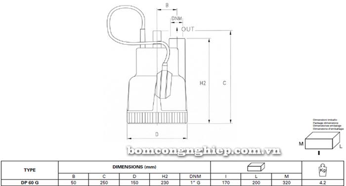 Máy bơm nước thải Pentax DP 60G bảng thông số kích thước