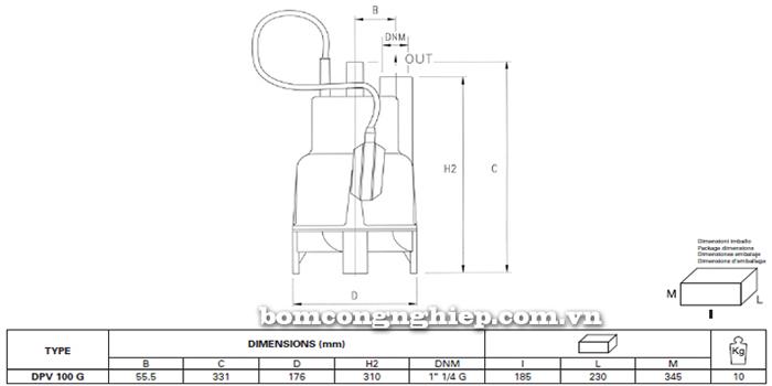 Máy bơm nước thải Pentax DPV 100G bảng thông số kích thước