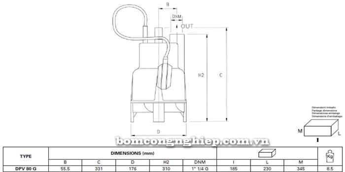 Máy bơm nước thải Pentax DPV 80G bảng thông số kích thước