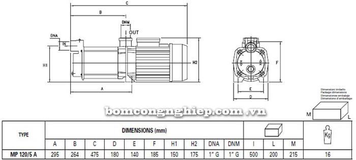 Máy bơm nước trục ngang đa cấp Pentax MP 120/5 A bảng thông số kích thước