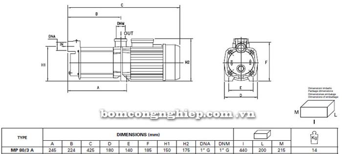 Máy bơm nước trục ngang đa cấp Pentax MP 80/3 A bảng thông số kích thước