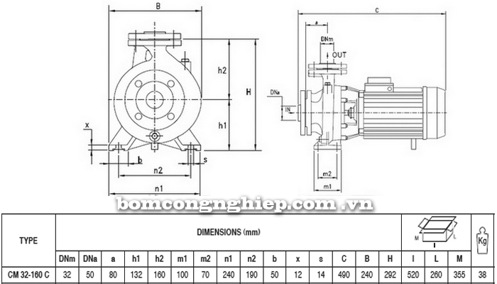 Máy bơm Pentax CM 32-160C bảng thông số kích thước