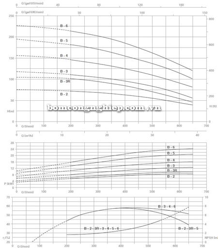 Máy bơm trục đứng Pentax MS-B biểu đồ lưu lượng