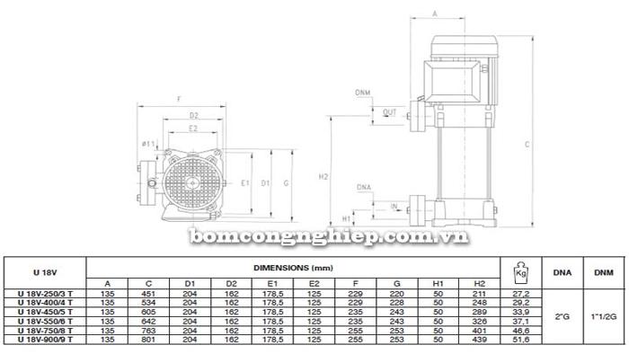 Máy bơm trục đứng Pentax Ultra 18V bảng thông số kích thước