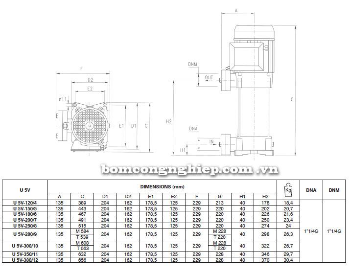 Máy bơm trục đứng Pentax Ultra 5V bảng thông số kích thước