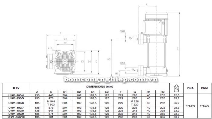 Máy bơm trục đứng Pentax Ultra 9V bảng thông số kích thước