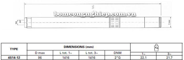 Bơm chìm giếng khoan Pentax 4S 14-12 bảng thông số kích thước