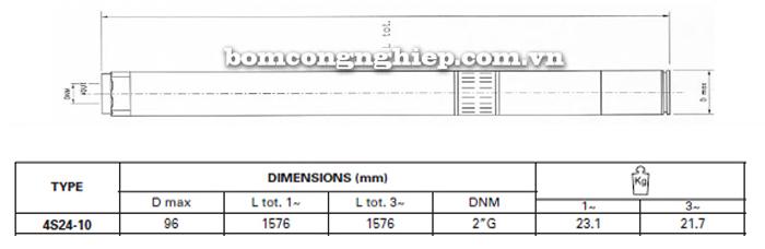 Bơm chìm giếng khoan Pentax 4S 24-10 bảng thông số kích thước