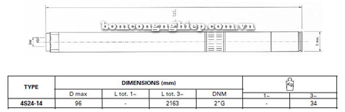 Bơm chìm giếng khoan Pentax 4S 24-14 bảng thông số kích thước