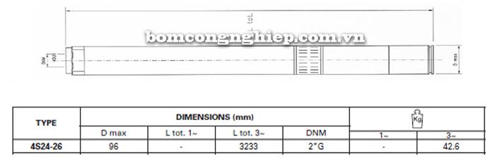 Bơm chìm giếng khoan Pentax 4S 24-26 bảng thông số kích thước
