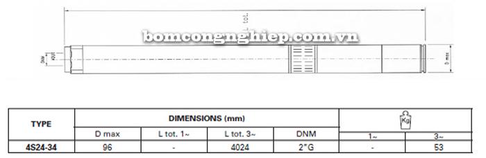 Bơm chìm giếng khoan Pentax 4S 24-34 bảng thông số kích thước