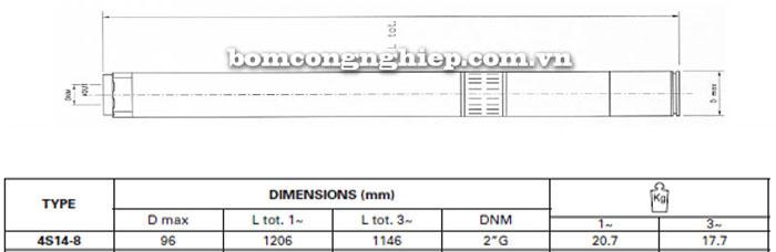Bơm chìm giếng khoan Pentax 4S14-8 bảng thông số kích thước