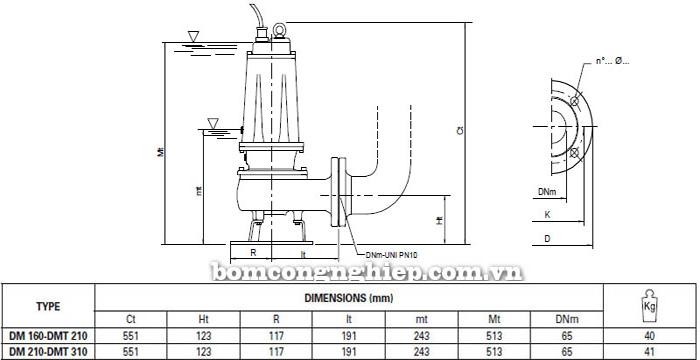 Máy bơm hố móng Pentax DM 210 bảng thông số kích thước
