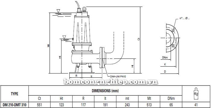 Máy bơm hố móng Pentax DMT 310 bảng thông số kích thước