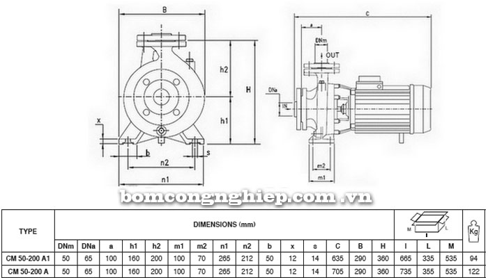 Máy bơm Pentax CM 50-200A bảng thông số kích thước