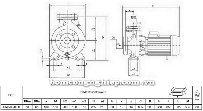 Máy bơm Pentax CM 50-200B bảng thông số kích thước