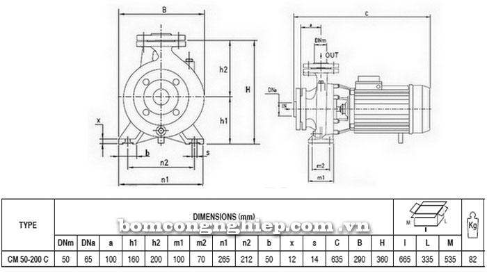 Máy bơm Pentax CM 50-200C bảng thông số kích thước