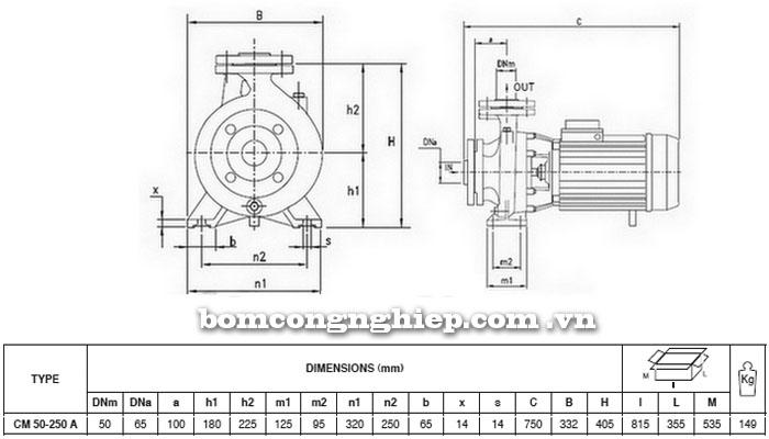 Máy bơm Pentax CM 50-250A bảng thông số kích thước