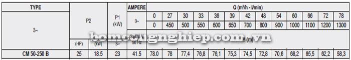 Máy bơm Pentax CM 50-250B bảng thông số kỹ thuật