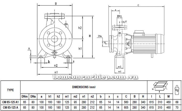 Máy bơm Pentax CM 65-125A bảng thông số kích thước