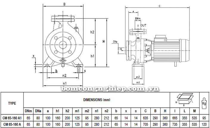 Máy bơm Pentax CM 65-160A bảng thông số kích thước