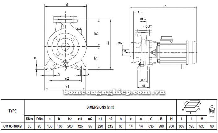 Máy bơm Pentax CM 65-160B bảng thông số kích thước