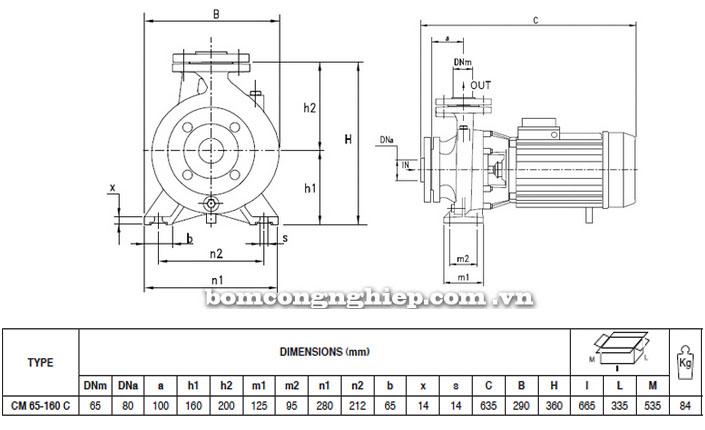 Máy bơm Pentax CM 65-160C bảng thông số kích thước