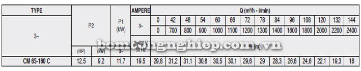 Máy bơm Pentax CM 65-160C bảng thông số kỹ thuật