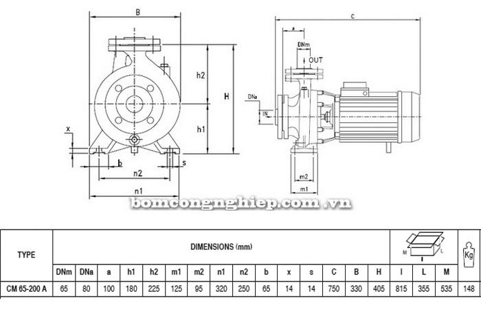 Máy bơm Pentax CM 65-200A bảng thông số kích thước