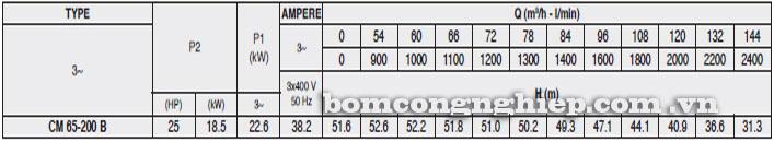 Máy bơm Pentax CM 65-200B bảng thông số kỹ thuật