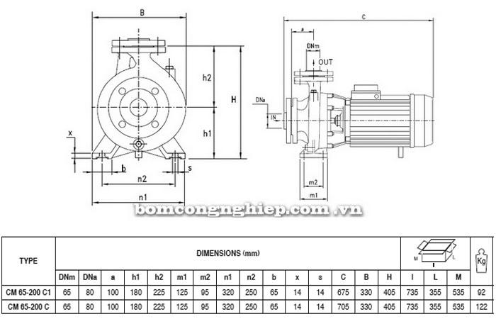 Máy bơm Pentax CM 65-200C bảng thông số kích thước