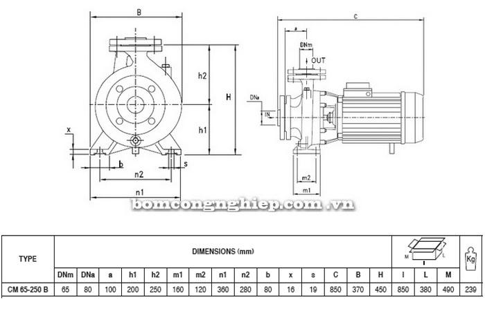 Máy bơm Pentax CM 65-250B bảng thông số kích thước