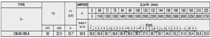 Máy bơm Pentax CM 80-160A bảng thông số kỹ thuật