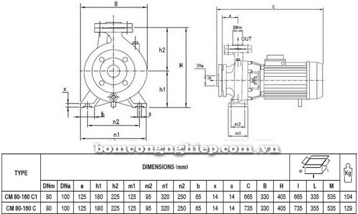 Máy bơm Pentax CM 80-160C bảng thông số kích thước