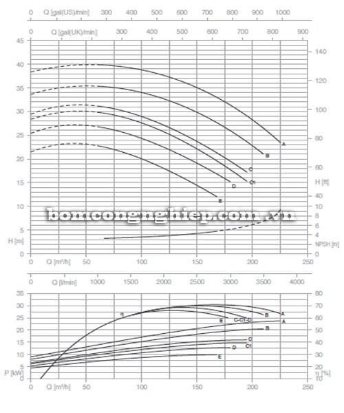 Máy bơm Pentax CM 80-160C biểu đồ lưu lượng
