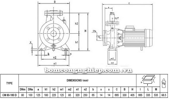 Máy bơm Pentax CM 80-160D bảng thông số kích thước